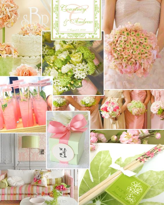 """Honeydew Green + Sweet Pea Pink"": If little girls are made of sugar and spice and everything nice, then there's no doubt in my mind they'll delight in this super modish wedding palette.  Gorgeous for a spring or summer hooplah, this honeydew/sweet pea scheme has all the right shades to turn any wedding decor from drab to fab."