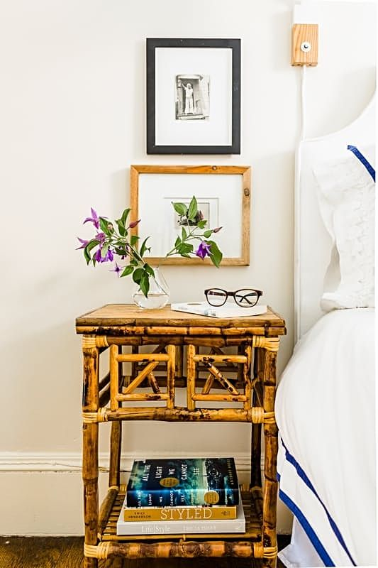 This bamboo bedside table pairs perfectly with the classic decor of the bedroom.