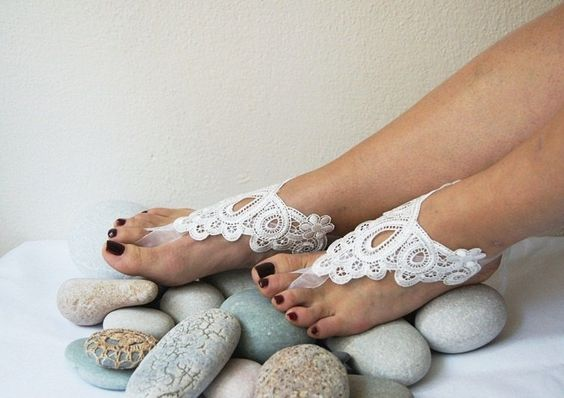 LUX Wedding White Lace Barefoot Sandals, Bridesmaids, Wedding Shoes , Victorian Lace, beach wedding