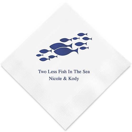 Of All The Fish In The Sea Personalized Printed Wedding Napkins 3 Sizes Multiple Colors Printed Napkins Wedding Wedding Napkins Wedding Cocktail Napkins