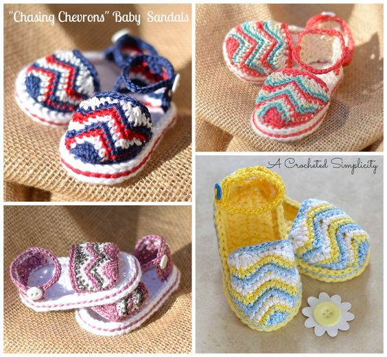 Crochet Patterns For Baby Shoes And Sandals : Baby sandals, Chevron and Crochet patterns on Pinterest