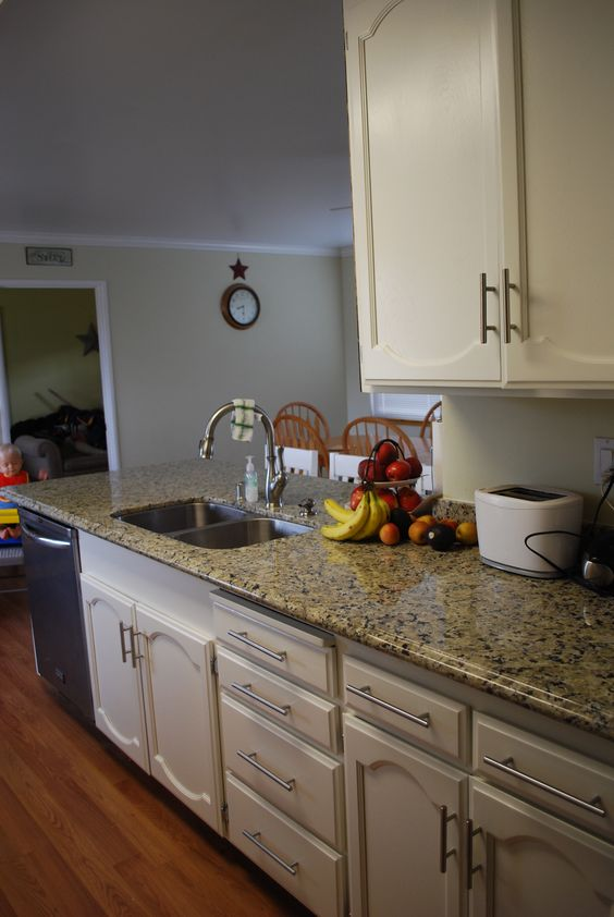 My new white kitchen painted cabinets kelly moore swiss coffee and