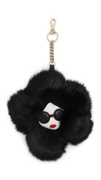 alice + olivia Stace Face Fur Flower Keychain Charm