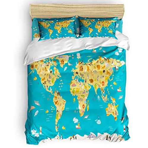 Flouky Cartoon Animal World Map Pattern Duvet Cover Set Luxury Bedding Sets Twill Plush Bed Sheet Set Duvet Cover Pattern Bedroom Duvet Cover Kids Bedding Sets