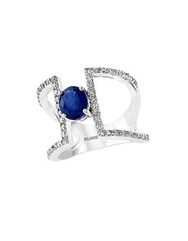 Effy Royale Bleu Diamond, Sapphire and 14K White Gold Ring, 0.59TCW Wo