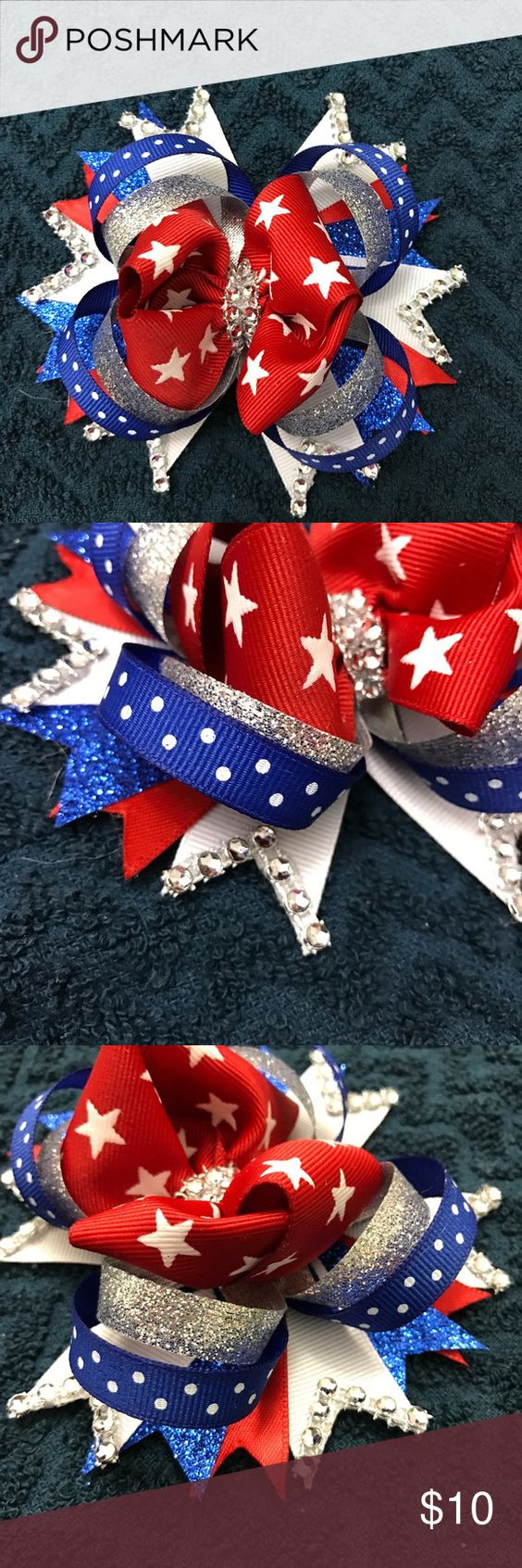 Red White and Blue boutique hair bow clip on brand new handmade never worn Accessories Hair Accessories