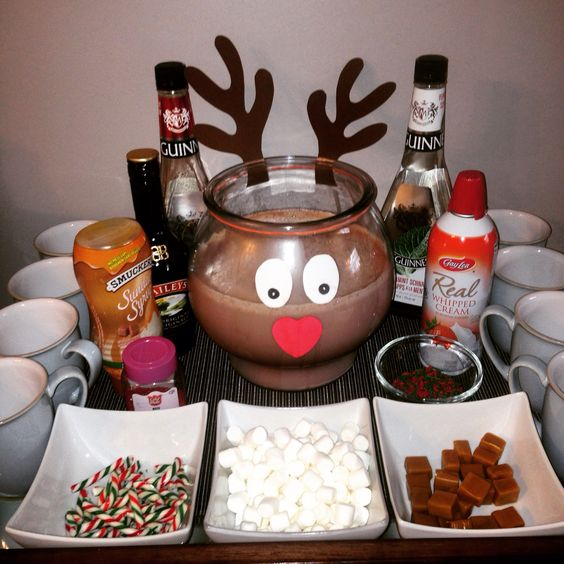 Hot Chocolate Bar!  #christmasiscoming #christmaslunch #hotchocolate