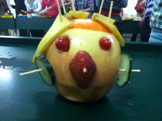 I kid you not, students have FRUIT PARTIES in China. And this is my fruit creation, Mr. Absofruitly.