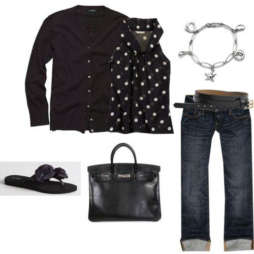 black + polka dots