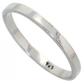 Sterling Silver 2.2 mm Flat Wedding Band Thumb Ring.