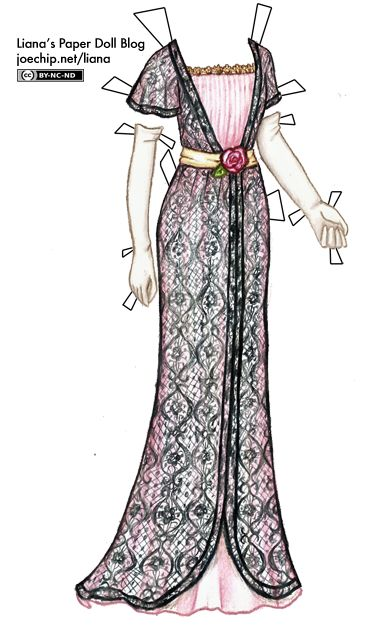 1910 Pink Evening Gown with Black Lace and Cream Sash and Gloves (based on The Intrusion of Jimmy by P.G. Wodehouse from Liana's Paper Doll Blog)