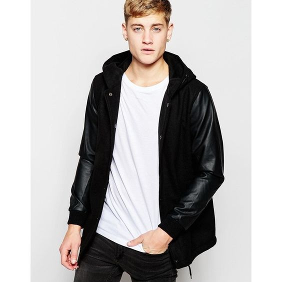 Pull Bear Hooded Varsity Jacket With Faux Leather Sleeves Leather Sleeve Mens Outfits Jackets