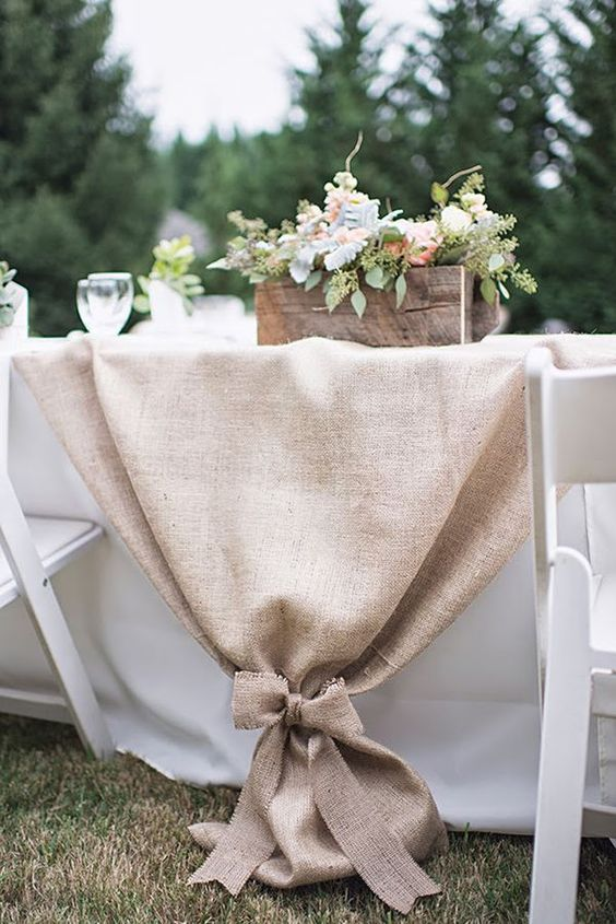 We could do this instead of the napkins in the middle of the tables. For all tables or just the wedding party tables.
