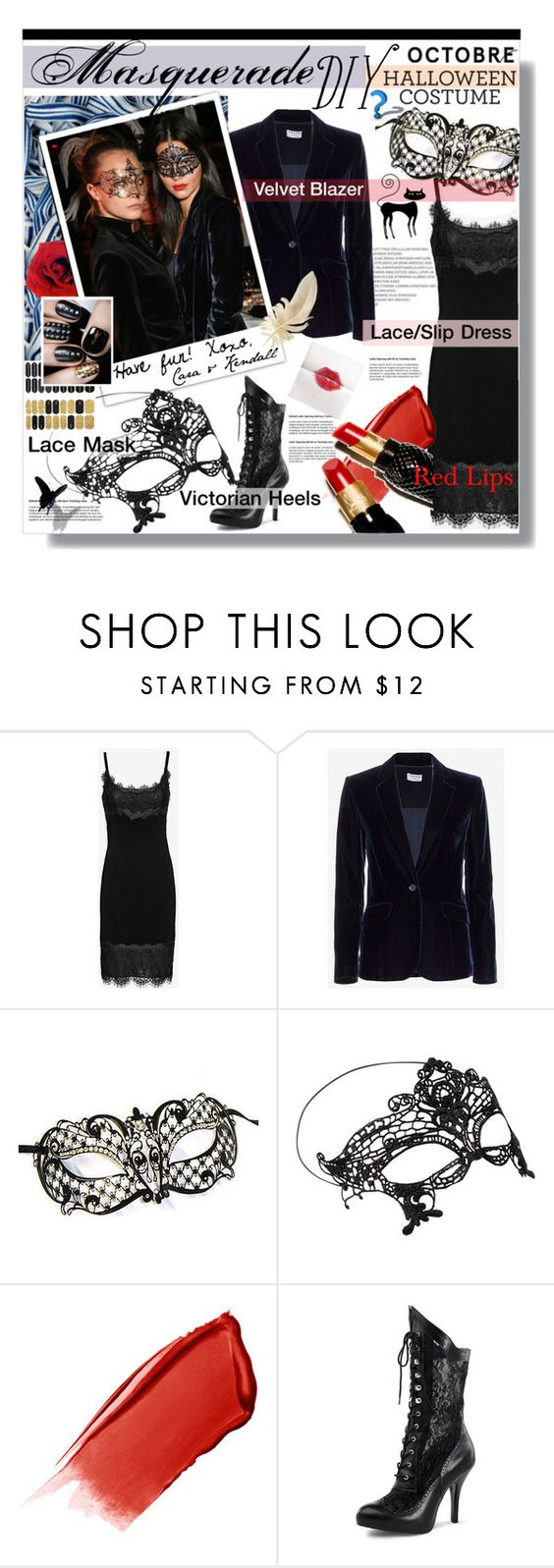 """Masquerade - Halloween Costume"" by watereverysunday ❤ liked on Polyvore featuring Diane Von Furstenberg, Frame Denim, Accessorize, Hourglass Cosmetics, Yves Saint Laurent, Christian Louboutin, cara, kendalljenner, Halloweenparty and diycostume"