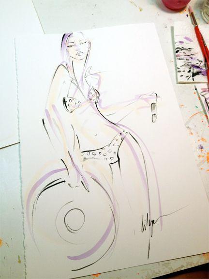 """Summer Lovin'"", acrylic wash & ink on paper."