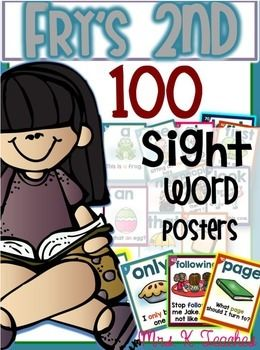 SIGHT WORD SENTENCE CARDS-These cards are original items found in Mrs. Ks store. All 100 words are included in this Fry's 2nd 100 sentence card set.  This resource is invaluable and provides an effective way for students to read sight words in context.