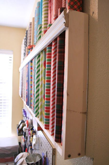 how to store wrapping paper homemade pinterest paper diy wall and wall racks. Black Bedroom Furniture Sets. Home Design Ideas