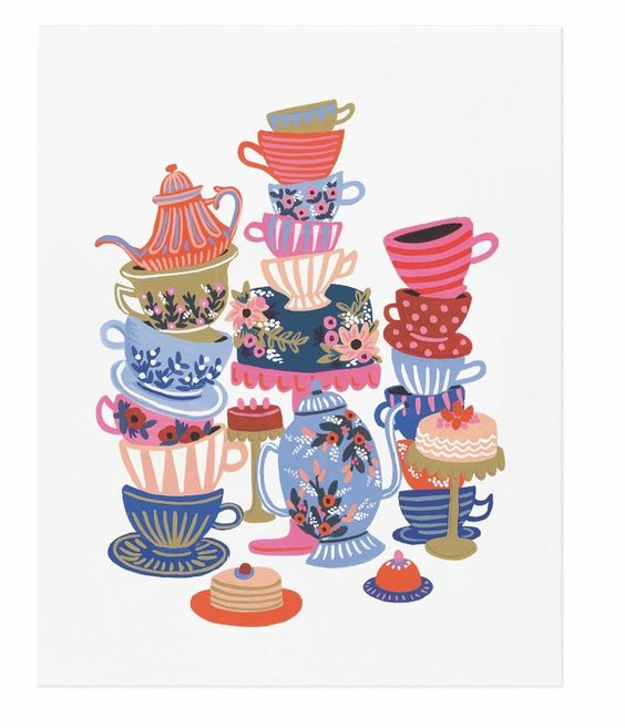 Alice in Wonderland Tea Cups art prints designed by Anna Bond for Rifle Paper Co. will be available at Northlight in April 2016