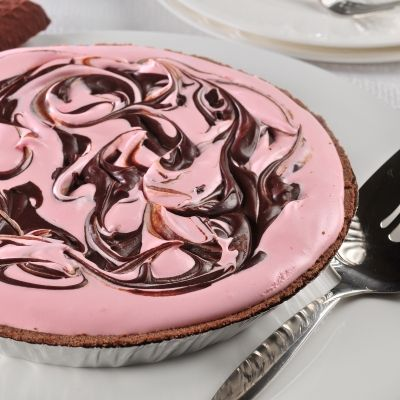 Chocolate Swirled Pink Peppermint Pie