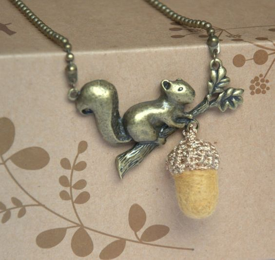 Felt acorn squirrel necklace pendant sandy wool by astashtoys, $18.00