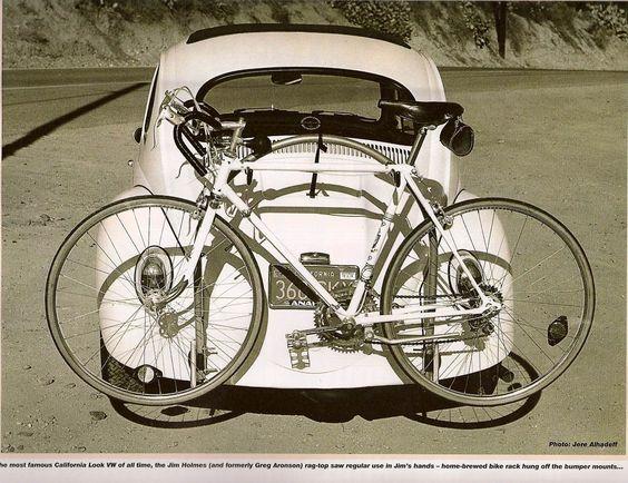 Vintage VW beetle with bike rack