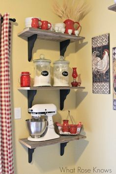 Rustic Country Shelves for farmhouse style kitchen