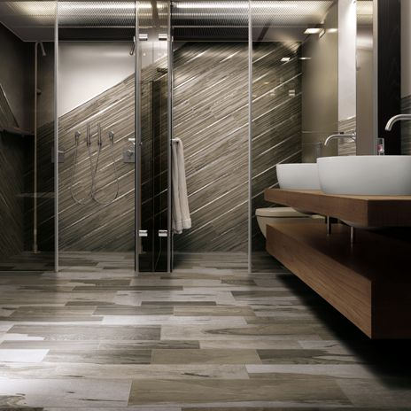 Create a striking focal point in a bath by creating a for Focal point flooring