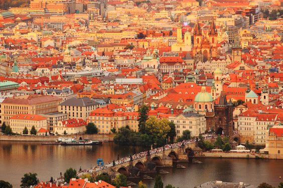 Prague in sunset.