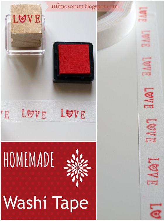 Washi Tape Casero ( Con Cinta de Carrocero, Sellos y Tinta) Ideal para decorar Paquetes o Embalajes - Tutorial en Español   http://mimosorum.blogspot.com.es/2013/06/como-hacer-washi-tape-casero-how-to-make-homemade-washi-tape.html