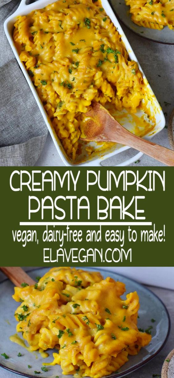 Creamy Pumpkin Pasta Bake which is cheesy and delicious! This easy to make pasta casserole is a great vegan weeknight dinner with wholesome ingredients. The recipe is meat-free, vegetarian, dairy-free, plant-based, oil-free, and can be made gluten-free. #pumpkinpastabake #pumpkinrecipe #pastabake #vegancasserole #pastacasserole #elasrecipes | elavegan.com