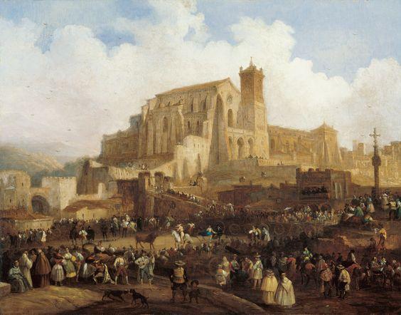 Corrida de toros en un pueblo. Pérez Villaamil. Influencia de paisaje inglés, exactitud topográfica, monumentos y detalles pintoresquimos.