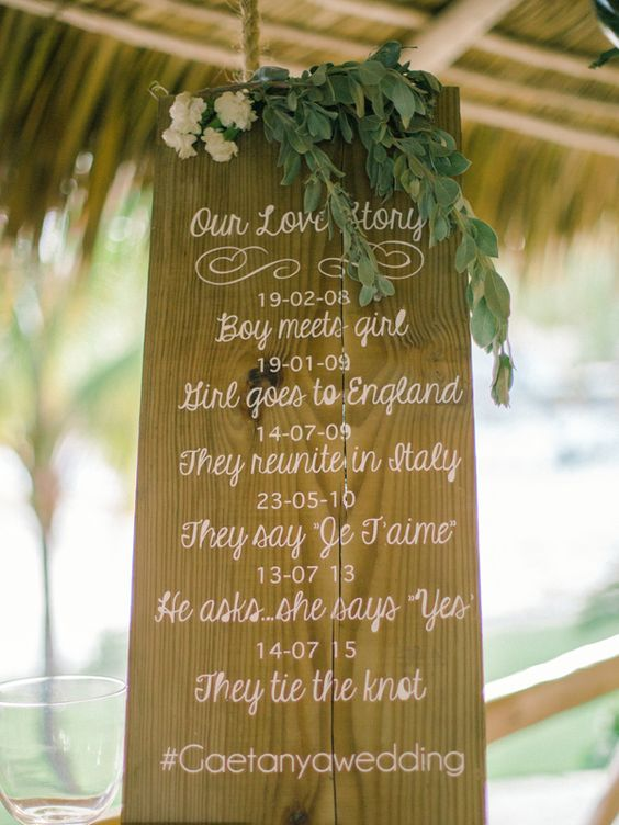 wedding sign - photo by Asia Pimentel Photography http://ruffledblog.com/punta-cana-destination-wedding