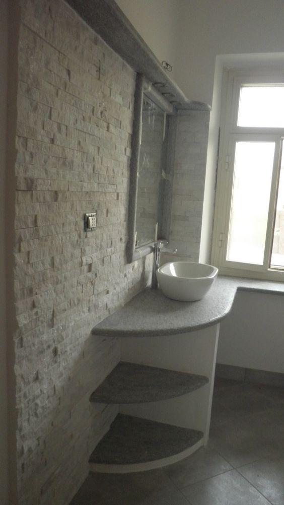 Top bagno in pietra di luserna spazzolata rivestimento - Bagno rivestimento pietra ...