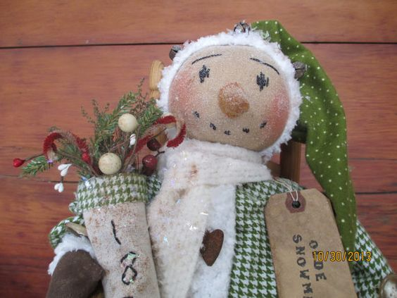 Primitive Christmas  Folk Art Snowman Doll with 1870 Stocking on Etsy, $39.99