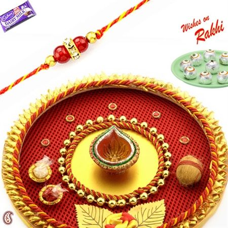 Aarti raksha bandhan shagun thali with sweets for Aarti thali decoration with pulses