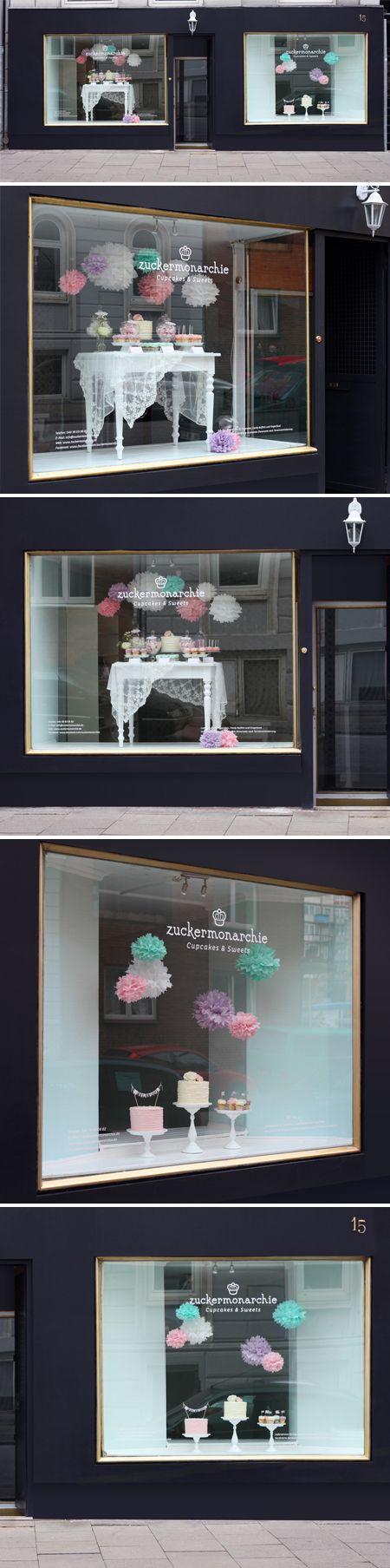 cute dessert table display in front window @Heather Brannan