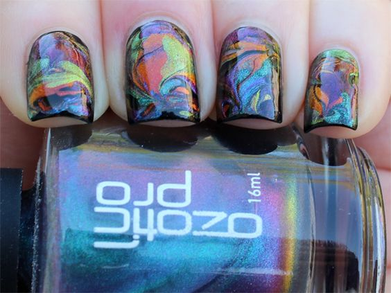 Oil Slick No Water Water Marble Manicure: