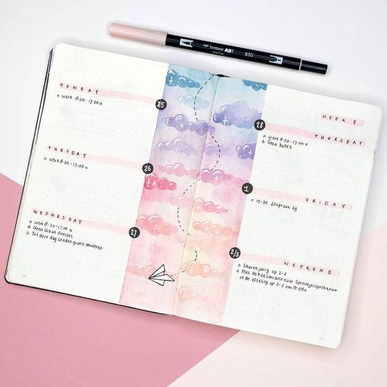 20 spreads avec de l'aquarelle pour votre Bullet Journal