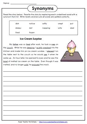 Printables Super Teacher Worksheets 2nd Grade printable worksheets for teaching synonyms and antonyms reading super teacher has a large selection of synonym antonym to help teach students about words that have sim