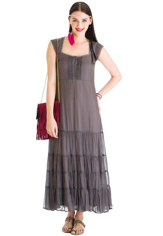 Priyadarshini rao for stylista Pocahontas Maxi Dress Dark Grey