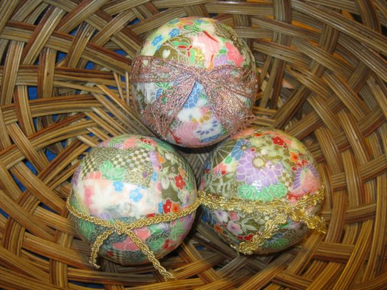 Japanese Garden Decorative Orbs Decoupage Spheres Yuzen Chiyogami Paper: Set of Three by VioletVox on Etsy