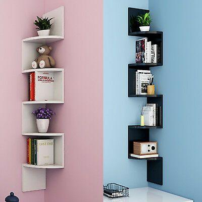 5 Tiers Corner Shelf Floating Wall Shelves Storage Display Books Home Decoration Ebay Corner Decor Corner Shelf Design Floating Wall Shelves