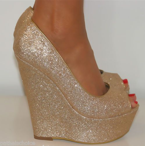 GOLD SUPER GLITTERY PEEP TOE WEDGE HEELS on Chiq http://www.chiq ...
