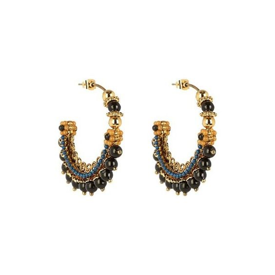 Etro Bead-embellished hoop earrings (€250) ❤ liked on Polyvore featuring jewelry, earrings, blue gold, blue hoop earrings, beading earrings, blue bead earrings, spiral hoop earrings and beading hoop earrings