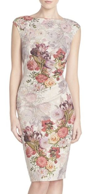 metallic ruched floral print dress