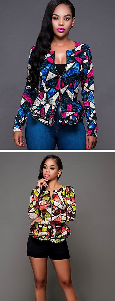 Geometric print for daily wear - geometric pattern slim blazer in blue - pink and green - orange colors. Only $19.99: