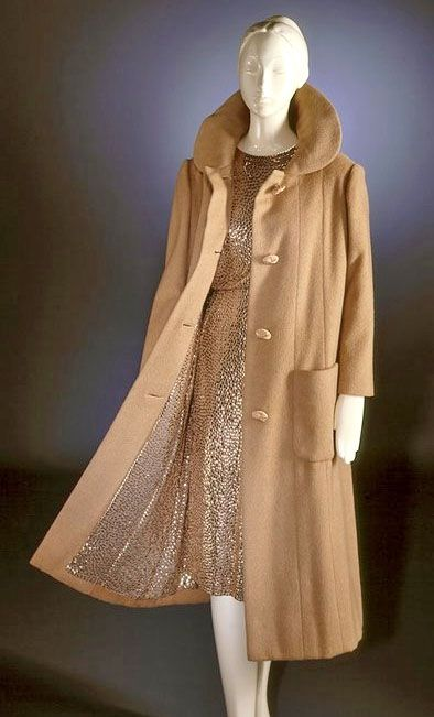 "Norman Norell gold sequined lined ""Subway"" coat and matching gold sequined dress 1958"