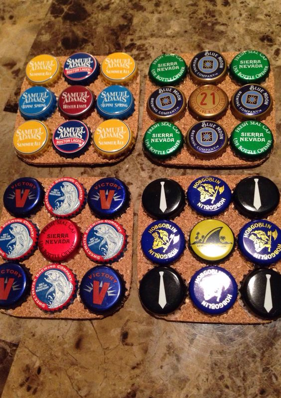 How to Make Beer Bottle Cap Coasters.  I will be doing this!!!