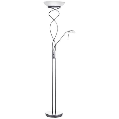 Mother And Son Satin Chrome Spiral Torchiere Floor Lamp 60e82 Lamps Plus Torchiere Floor Lamp Floor Lamp Lamp