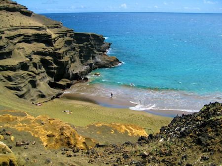 Green Sand Beach (Mahana) South point Hawaii - Big Island. 5mile round trip hike on foot to get here but it looks worth it!!!!
